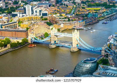 London, UK - August 1, 2015: View to the river Thames with the Tower Bridge in London.