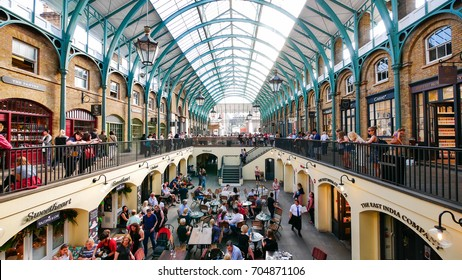 LONDON, UK - AUGUST 10, 2017: Summer in Covent garden, one of the biggest flea market in UK