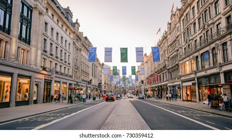 LONDON, UK - AUGUST 10, 2017: Summer on Oxford Street in London. Oxford Street is a famous shopping street in London, UK.