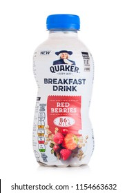 LONDON, UK - AUGUST 10, 2018: Plastic bottle of Quaker Breakfast drink with strawberry flavour on white.
