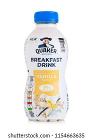 LONDON, UK - AUGUST 10, 2018: Plastic bottle of Quaker Breakfast drink with vanilla flavour on white.