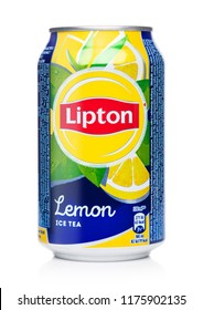 LONDON, UK - AUGUST 10, 2018: Aluminium can of Lipton Ice Tea with lemon flavour on white.