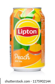 LONDON, UK - AUGUST 10, 2018: Aluminium can of Lipton Ice Tea with peach flavour on white.