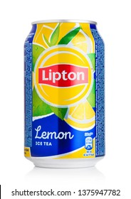 LONDON, UK - AUGUST 10, 2018: Aluminium can of Lipton Ice Tea with lemon flavour on white.