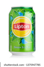 LONDON, UK - AUGUST 10, 2018: Aluminium can of Lipton Green Ice Tea with lemon flavour on white.