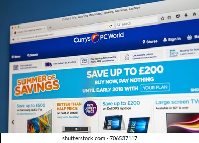 LONDON, UK - AUGUST 10TH 2017: The homepage of the official website for Currys PC World, the electronics and computer retailer, on 10th August 2017.