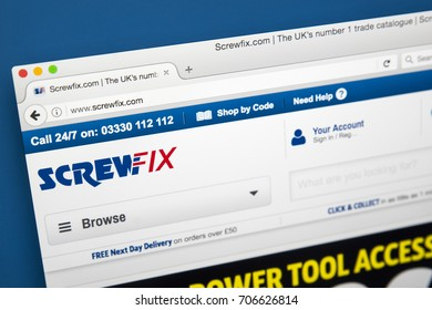 LONDON, UK - AUGUST 10TH 2017: The homepage of the official website for ScrewFix, the British retailer of trade tools, accessories and hardware products, on 10th August 2017.