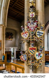 LONDON, UK - AUGUST 11, 2014: Interior of historic St. Giles Without Cripplegate Church located in the Barbican Estate in London, UK. Oliver Cromwell was married here in 1620.