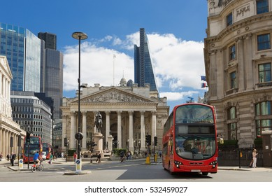LONDON, UK - August 11, 2016: View of British financial heart, Bank of England and Royal Exchange.