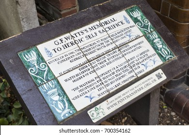 LONDON, UK - AUGUST 11TH 2017: Memorial to Heroic Self-Sacrifice located in Postmans Park in the City of London, UK. It is dedicated to ordinary people who died while saving the lives of others.