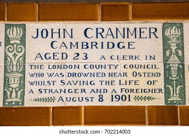 LONDON, UK - AUGUST 11TH 2017: A plaque at the Memorial to Heroic Self-Sacrifice located in Postmans Park in London, on 11th August 2017. Dedicated to ordinary people who died while saving others.