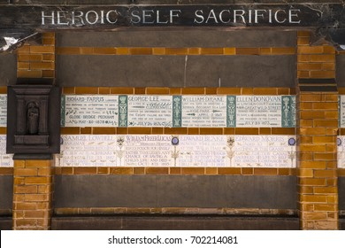 LONDON, UK - AUGUST 11TH 2017: Plaques at the Memorial to Heroic Self-Sacrifice located in Postmans Park in London, on 11th August 2017. Dedicated to ordinary people who died while others.