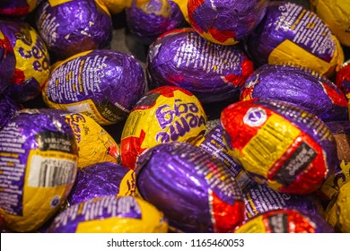 London, UK - August 12, 2018 - Image filled with Cadbury creme eggs at a duty free shop in London Heathrow Airport