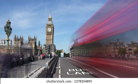LONDON, UK - AUGUST 13, 2018: Traffic on London Westminster Bridge near the Big Ben