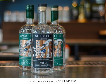 London, UK, August 15, 2019: Bottle of Gin Sipsmith London Dry Gin, 44,1%Vol.