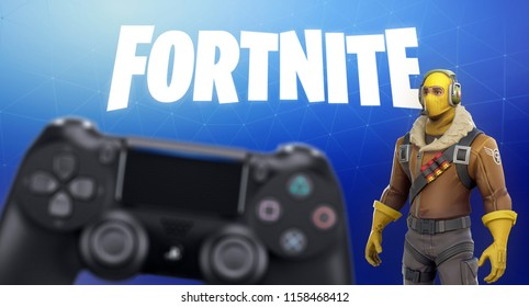 LONDON, UK - AUGUST 15TH 2018 - Fortnite video game screen with character and console controller. Fortnight Battle Royale online gaming by Epic Games