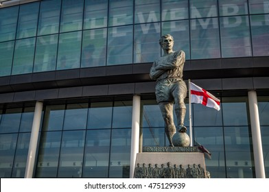 London, UK - August 16, 2016: The Bobby Moore statue is a bronze sculpture of the former West Ham and England footballer Bobby Moore, situated outside England's national stadium in Wembley Park