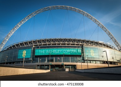 London, UK - August 16, 2016: Wembley Stadium on a clear afternoon. Wembley Stadium is a football stadium in Wembley, London, England