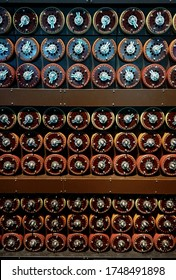 London / UK - August 16 2019: A replica of the WW II  Bletchley Park (and other stations) Bombe German Enigma code-breaking machine.