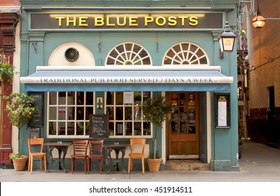 London, Uk - August 17, 2010: outside view of The Blue Posts pub in London.