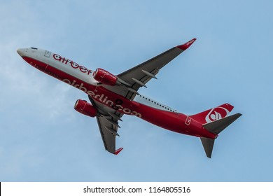 LONDON, UK - AUGUST 17, 2018: Boeing 737 belonging to Eurowings but still in livery bankrupt Air Berlin, takes off from London Heathrow Airport