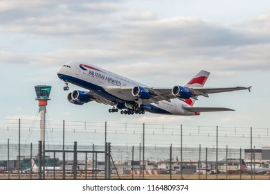 LONDON, UK - AUGUST 17, 2018: Largest passenger plane in the world Airbus A380 British Airways takes off from London Heathrow Airport