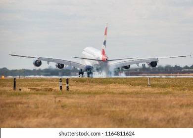 LONDON, UK - AUGUST 17, 2018: Largest passenger plane in the world Airbus A380 British Airways landing at London Heathrow Airport