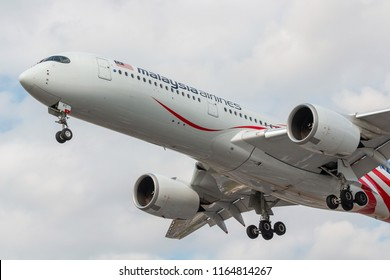 LONDON, UK - AUGUST 17, 2018: Airbus A350 Malaysia Airlines approaching to London Heathrow airport