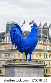 LONDON, UK - AUGUST 18, 2013. 'Hahn / Cock' is the title of a temporary 4.72 meters high Cockerel sculpture (German artist Katharine Fritsch, July 2013) on Trafalgar Square fourth plinth.