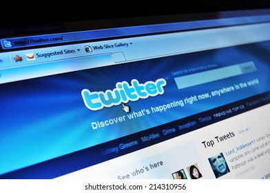 LONDON, UK - AUGUST 19, 2010: Close up of Twitter home page with mobile application on laptop screen.