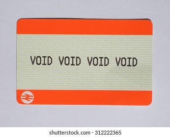 LONDON, UK - AUGUST 19, 2015: void void void void blank train ticket of the National Railways