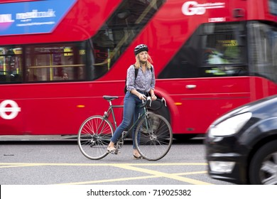 London, UK - August 19, 2017: London traffic is a threat for bicycle users