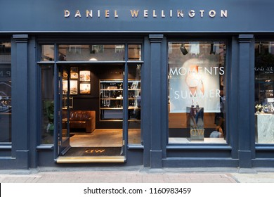 LONDON, UK - AUGUST 19, 2018: The Daniel Wellington store in Carnaby Street, Soho, Central London.