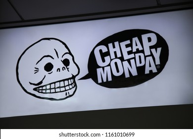 LONDON, UK - AUGUST 19, 2018:  Cheap Monday retail store on a Carnaby Street in Soho, Central London. Close up of brand logo. Cheap Monday is a Swedish clothing label.