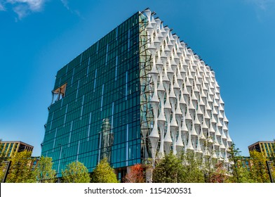 London, UK - August 1st 2018: The new American Embassy located at 33 Nine Elms Lane, London, England