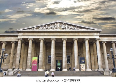 LONDON, UK, August 2, 2010: The British Museum entrance. The British Museum was established in 1753, and features a collection of over thirteen million objects.