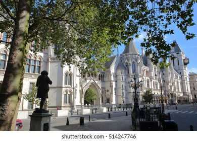 LONDON, UK - AUGUST 20, 2016: The Royal Courts of Justice from the Strand