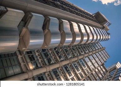 London / UK - August 2017: Looking up at the Lloyds of London building in the City of London