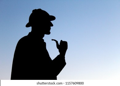 LONDON, UK - AUGUST 2018: Silhouette of Sherlock Holmes's statue  in London near Baker street