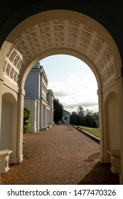 London UK, August 2019. Arch at newly renovated Gunnersbury Park and Museum on the Gunnersbury Estate, once owned by the Rothschild family, now owned by Hounslow and Ealing Councils in West London.