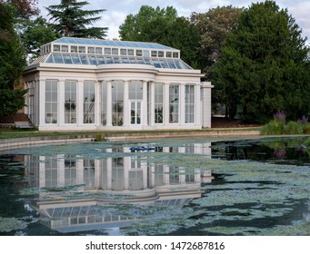 London UK, August 2019. Orangery by the lake at newly renovated Gunnersbury Park and Museum on the Gunnersbury Estate, once owned by the Rothschild family, now owned by Hounslow and Ealing Councils.