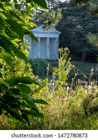 London UK, August 2019. Temple by the lake at newly renovated Gunnersbury Park and Museum on the Gunnersbury Estate, once owned by the Rothschild family, now owned by Hounslow and Ealing Councils.