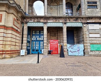 LONDON, UK - AUGUST 21, 2021: Entrance to the Ice Rink. Alexandra Palace in the early  morning with overcast skies
