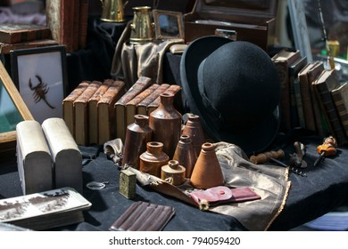 LONDON, UK - August 22, 2017: Sale of antiques at Old Spitalfields Market in London. A market existed here for at least 350 years
