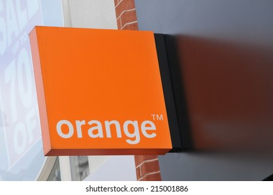 LONDON, UK - AUGUST 23, 2010: Detail of Orange mobile phone company logo in central London
