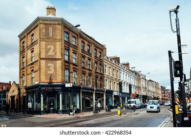 LONDON, UK - AUGUST 23, 2015: Bethnal Green Road. It�´s located in Shoreditch, near Brick Lane Market.