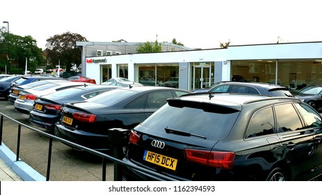 London, UK, August 23rd 2018: Cars lined up at Audi's approved forecourt Sydenham, London
