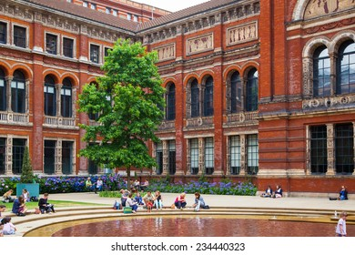 LONDON, UK - AUGUST 24, 2014: Victoria and Albert Museum historical building. V&A Museum is the world's largest museum of decorative arts and design.