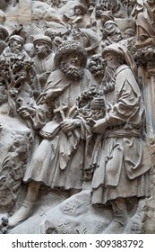 LONDON, UK - AUGUST 24, 2014:  Victoria and Albert Museum. Bible relief