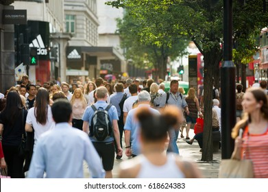 London, UK - August 24, 2016: Crowd in Oxford street, the main destination of Londoners for shopping. Modern life concept